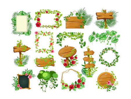 Illustration pour Liana branches frames. Rainforest leaves and tropical liana. Game elements plants of jungle and frames with space for text. Jungle cartoon games plank liana isolated vector. Branches and wooden boards - image libre de droit