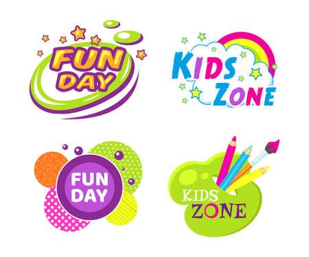 Illustration pour Kids zone fun day entertainment set childish banner label sticker badge logo. Cartoon colorful logo for children's playroom decoration, fun play, kids zone vector illustration - image libre de droit