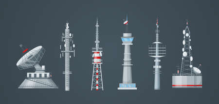 Illustration pour Communication towers set. Radio wireless masts and telecommunication towers, radio tv antenna. Communication satellite antenna, wireless television broadcast isolated vector - image libre de droit