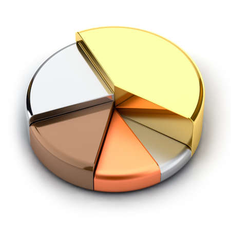 Photo for Pie chart, made of different metals - gold, silver, bronze, copper, lead - Royalty Free Image