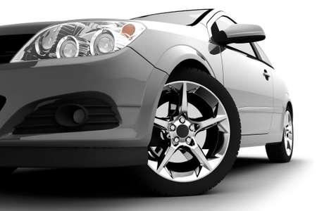Photo pour Car front bumper, light and wheel on white. Detail - image libre de droit
