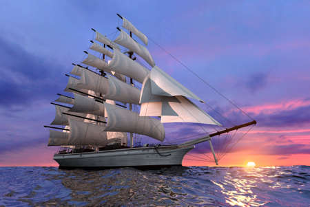 Sailing ship on the background of the setting sun in clear calm sea