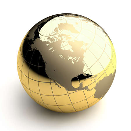 Metal globe of the Earth with a golden hue as it were photographed in the studio. 3D-graphics