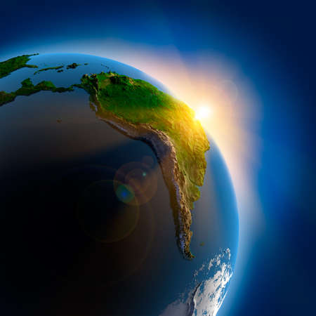 Foto de The sun's rays from the rising sun illuminate the earth in outer space - Imagen libre de derechos