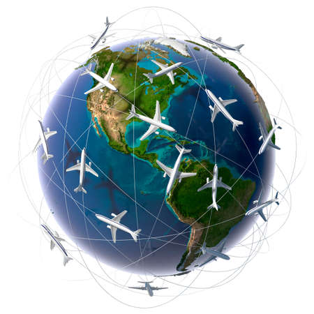 Foto de The metaphor of international air travel around the world, travel to anywhere on the planet Earth and the workload of air traffic - Imagen libre de derechos