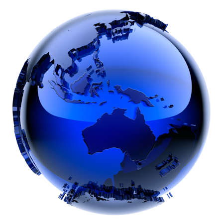 Photo pour Blue glass globe with frosted continents a little stand out from the water surface - image libre de droit