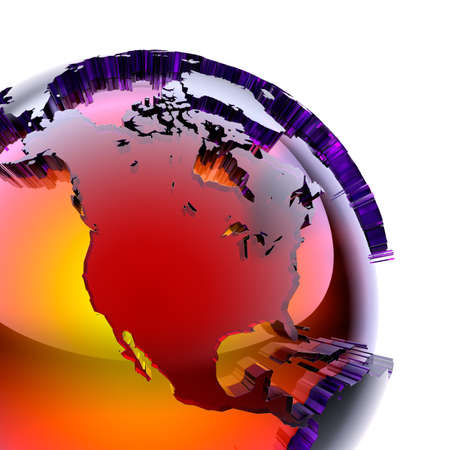 Fragment of a glass globe with a prominent stylized continents of stained glass with beveled, which glows from the inside with warm bright light. On a white background