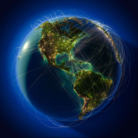 Foto de Highly detailed planet Earth at night, lit from behind the evening sun, with embossed continents, illuminated by light of cities, translucent and reflective ocean. Earth is surrounded by a luminous network, representing the major air routes based on real  - Imagen libre de derechos