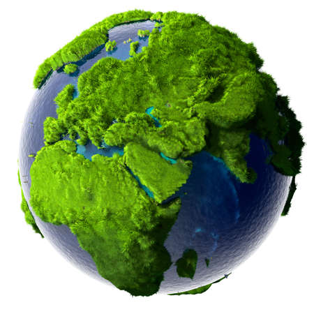 Earth with a pure transparent ocean is completely covered with lush green grass - a symbol of a clean environment, rich in natural resources and good environmental conditions.