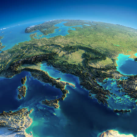 Highly detailed planet Earth in the morning  Exaggerated precise relief lit morning sun  Part of Europe - Italy, Greece and the Mediterranean Sea