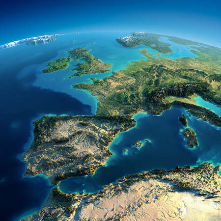 Highly detailed planet Earth in the morning  Exaggerated precise relief lit morning sun  Part of Europe, the Mediterranean Sea