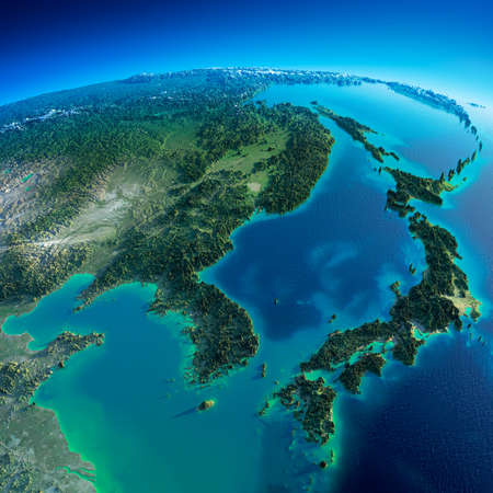 Photo pour Highly detailed planet Earth in the morning  Exaggerated precise relief lit morning sun  Detailed Earth  Korea and Japan   - image libre de droit