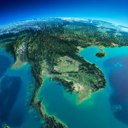 Photo pour Highly detailed planet Earth in the morning  Exaggerated precise relief lit morning sun  Detailed Earth  Indochina peninsula  - image libre de droit