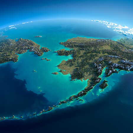 Photo pour Highly detailed planet Earth in the morning  Exaggerated precise relief lit morning sun  Detailed Earth  Chukotka, Alaska and the Bering Strait  - image libre de droit