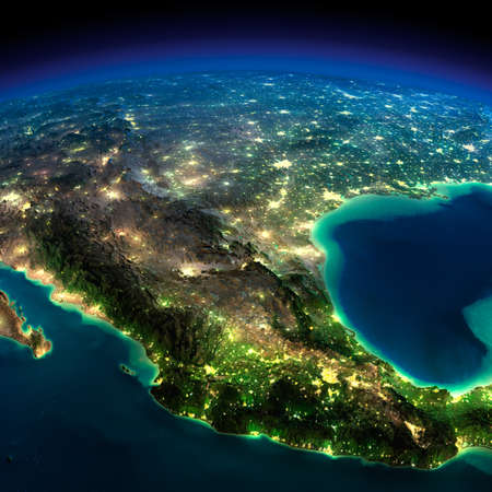 Highly detailed Earth, illuminated by moonlight  The glow of cities sheds light on the detailed exaggerated terrain  North America  Mexico