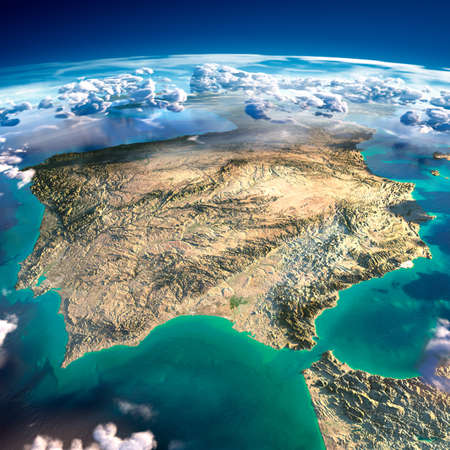 Highly detailed fragments of the planet Earth with exaggerated relief, translucent ocean and clouds, illuminated by the morning sun  Spain and Portugal