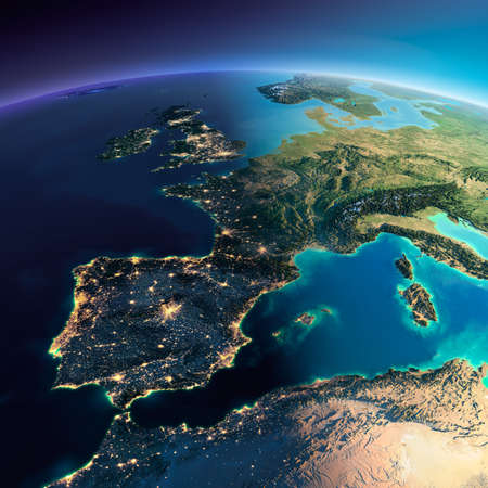 Highly detailed planet Earth. Night with glowing city lights gives way to day. The boundary of the night & day. Part of Europe, the Mediterranean Sea. Elements of this image furnished by NASA