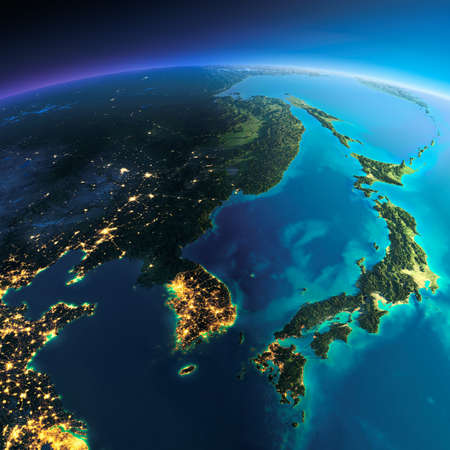 Photo pour Highly detailed planet Earth. Night with glowing city lights gives way to day. The boundary of the night & day. Korea and Japan. Elements of this image furnished by NASA - image libre de droit