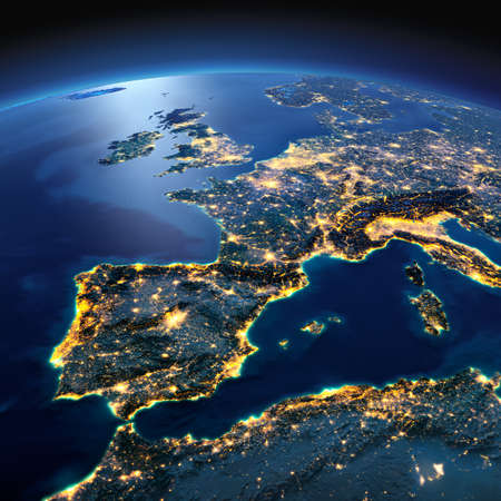 Photo pour Night planet Earth with precise detailed relief and city lights illuminated by moonlight. Part of Europe, the Mediterranean Sea. Elements of this image furnished by NASA - image libre de droit