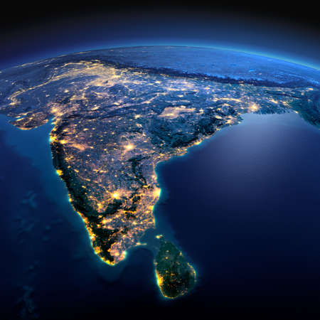 Photo pour Night planet Earth with precise detailed relief and city lights illuminated by moonlight. India and Sri Lanka.  - image libre de droit
