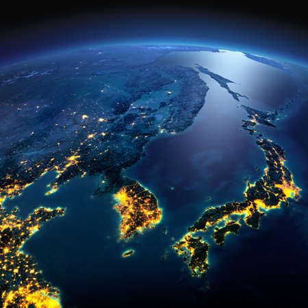 Photo pour Night planet Earth with precise detailed relief and city lights illuminated by moonlight. Korea and Japan. Elements of this image furnished by NASA - image libre de droit
