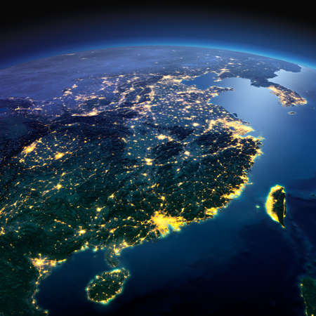Photo for Night planet Earth with precise detailed relief and city lights illuminated by moonlight. Eastern China and Taiwan. Elements of this image furnished by NASA - Royalty Free Image