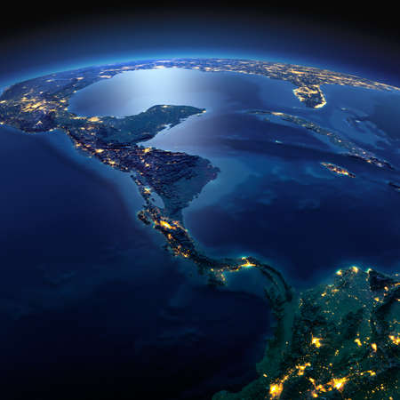 Night planet Earth with precise detailed relief and city lights illuminated by moonlight. The countries of Central America. Elements of this image furnished by NASA