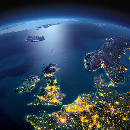 Photo pour Night planet Earth with precise detailed relief and city lights illuminated by moonlight. United Kingdom and the North Sea. Elements of this image furnished by NASA - image libre de droit