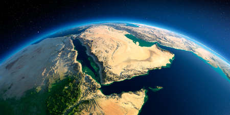 Photo pour Highly detailed planet Earth in the morning. Exaggerated precise relief lit morning sun. Near East - Arabian Peninsula, Gulf of Aden, Saudi Arabia. 3D rendering. - image libre de droit