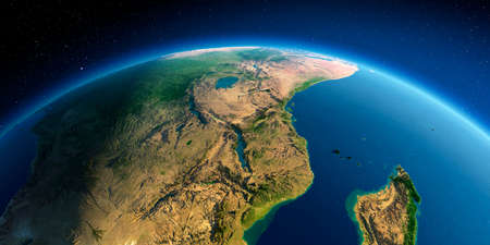 Photo pour Highly detailed planet Earth. Exaggerated precise relief lit morning sun. East Africa. Mozambique, Tanzania, Kenya, Madagascar. - image libre de droit