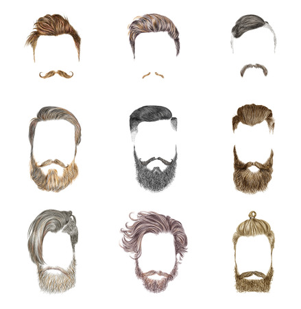 Ilustración de Hipster style of men's hairstyle. Fashion vector illustration. - Imagen libre de derechos