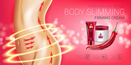 Body skin care series ads. Vector Illustration with chili pepper body slimming firming cream tube and container. Horizontal banner.
