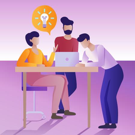 Illustration pour Brainstorming concept. Group of people holds a working discussion. - image libre de droit