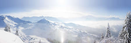 Panoramic view across the Alps from the top of Le Ranfoilly in the Portes du Soleil ski area.