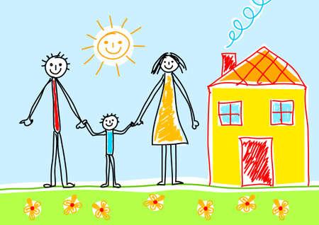Illustration pour Drawing of family - image libre de droit