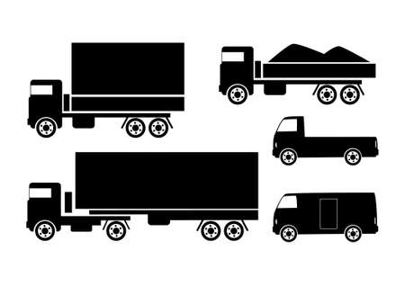 Black silhouettes of trucks