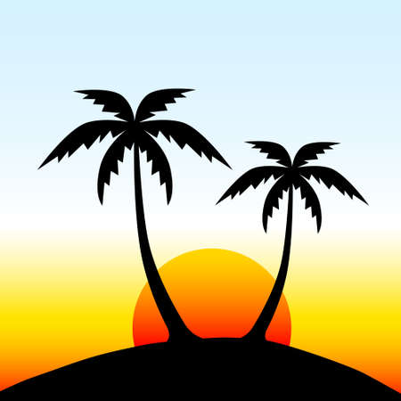 Illustration for Island with palm trees - Royalty Free Image