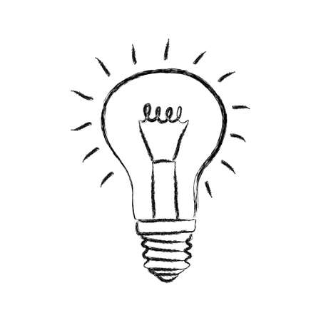 Sketch of light bulb on white background