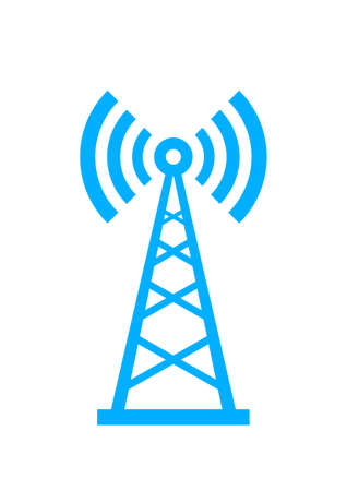 Illustration pour Blue transmitter icon on white background - image libre de droit