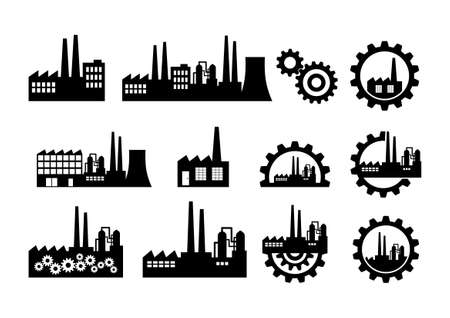 Black factory icons on white background