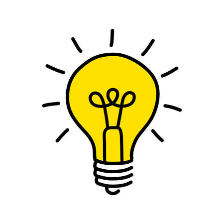 Ilustración de Yellow light bulb drawing. - Imagen libre de derechos