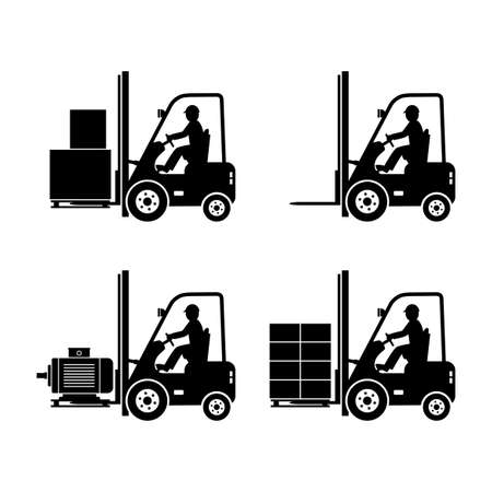 Black forklift truck vector icons on white background