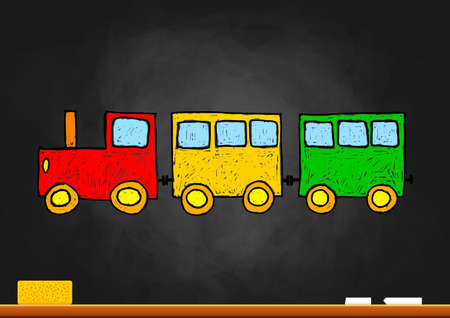 Illustration pour Train drawing on blackboard - image libre de droit