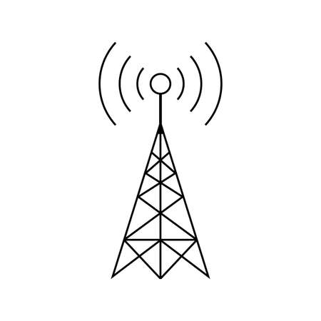 Ilustración de Black transmitter vector icon on white background - Imagen libre de derechos