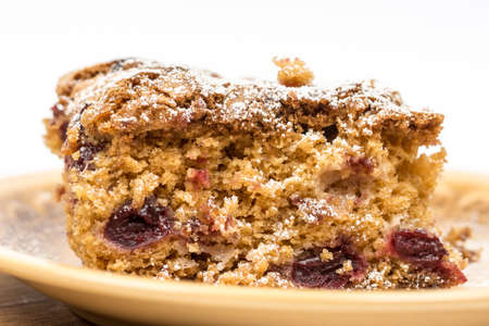 Photo for Cherry cake on the plate with copy space. - Royalty Free Image
