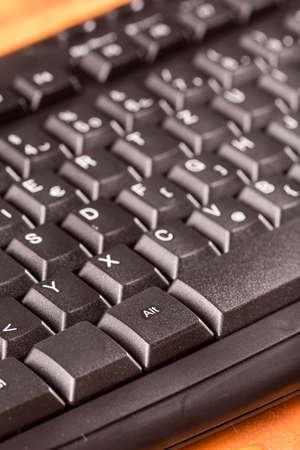 Photo for Closeup macro black unused pc keyboard keys. - Royalty Free Image