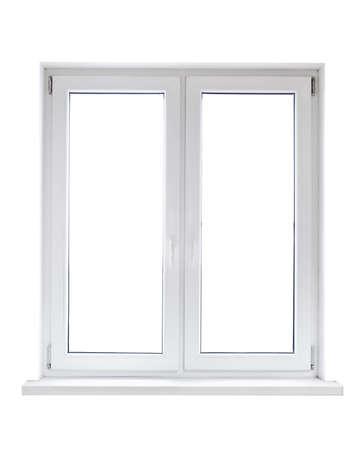Foto de White plastic double door window isolated on white background - Imagen libre de derechos