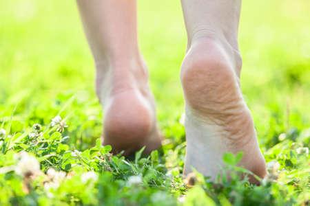 Bare feet on the soft summer grass