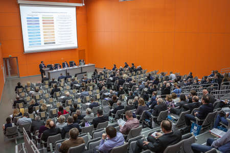 Photo pour MOSCOW, RUSSIA - CIRCA NOV, 2015: Scientific and technical seminar is on the Metal-Expo'2015, the 21st International Industrial Exhibition in the All-Russia Exhibition Center - image libre de droit