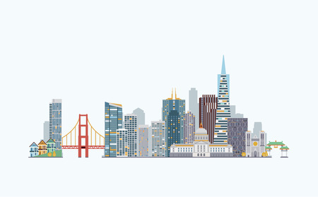 Illustration for graphics, flat city illustration - Royalty Free Image
